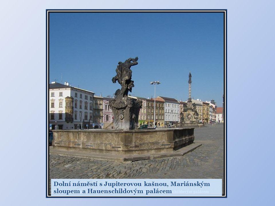 Dolní náměstí s Jupiterovou kašnou, Mariánským sloupem a Hauenschildovým palácem