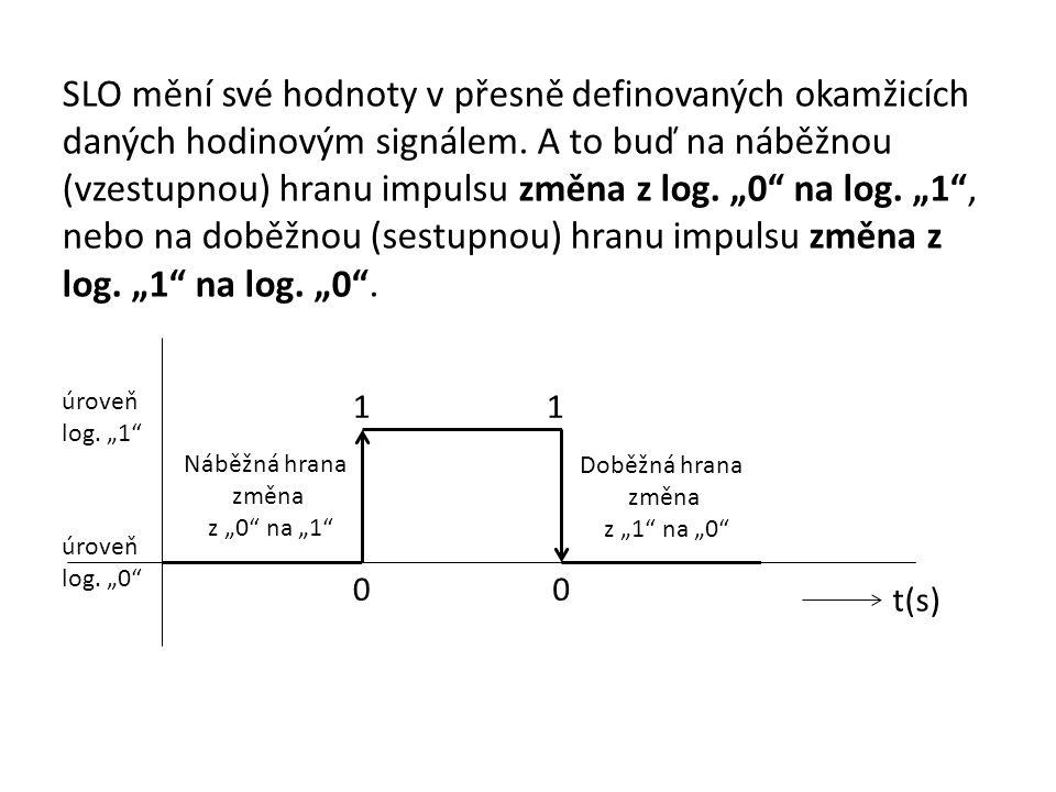 """SLO mění své hodnoty v přesně definovaných okamžicích daných hodinovým signálem. A to buď na náběžnou (vzestupnou) hranu impulsu změna z log. """"0 na log. """"1 , nebo na doběžnou (sestupnou) hranu impulsu změna z log. """"1 na log. """"0 ."""