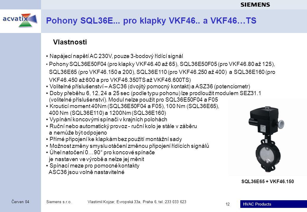 Pohony SQL36E... pro klapky VKF46.. a VKF46…TS