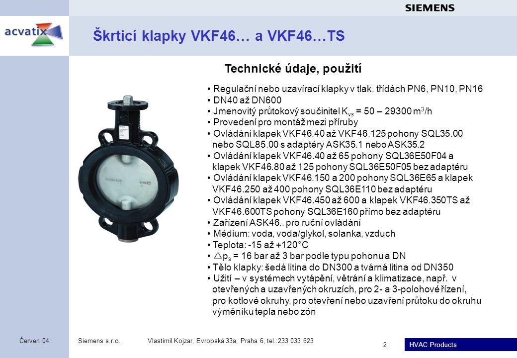 Škrticí klapky VKF46… a VKF46…TS