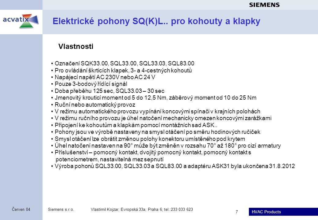 Elektrické pohony SQ(K)L.. pro kohouty a klapky