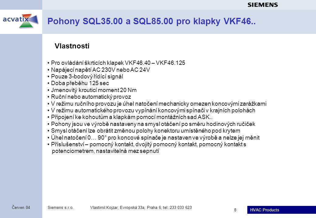 Pohony SQL35.00 a SQL85.00 pro klapky VKF46..