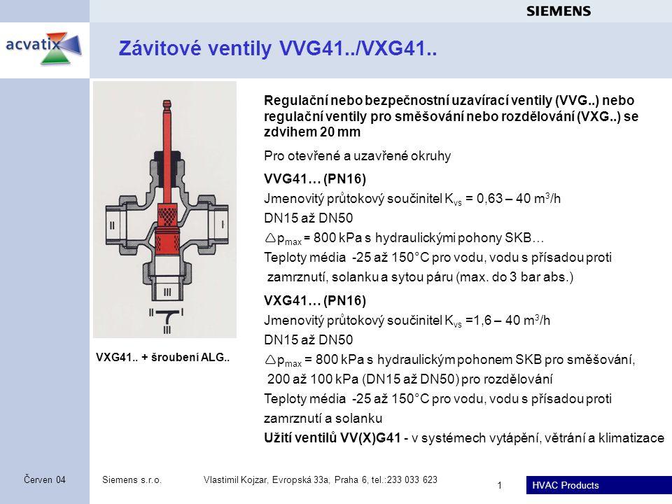Závitové ventily VVG41../VXG41..