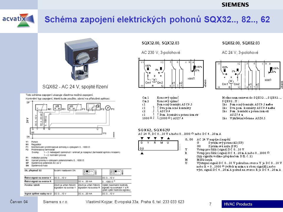 Schéma zapojení elektrických pohonů SQX32.., 82.., 62