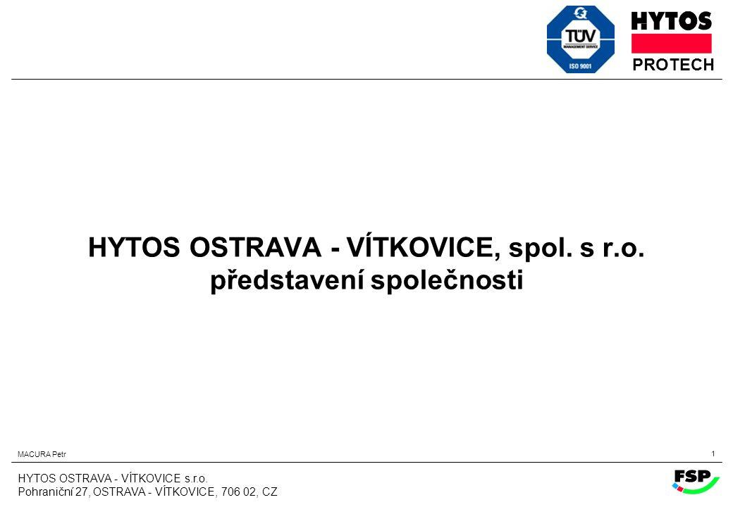 HYTOS OSTRAVA - VÍTKOVICE, spol. s r.o. představení společnosti