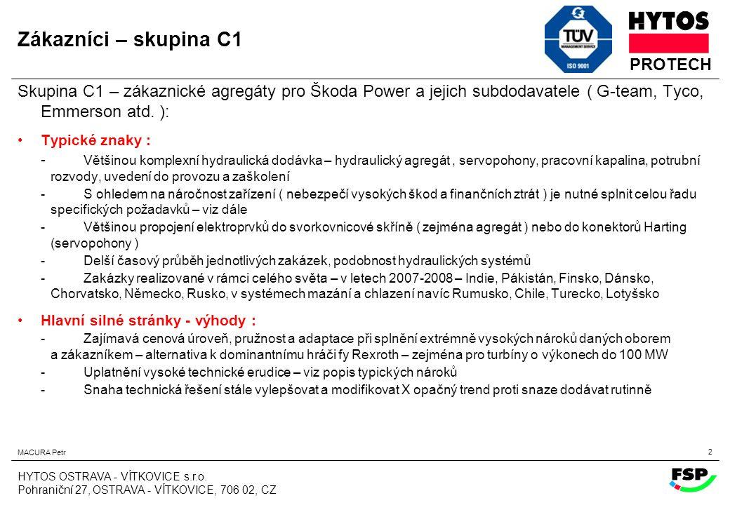 Zákazníci – skupina C1 Skupina C1 – zákaznické agregáty pro Škoda Power a jejich subdodavatele ( G-team, Tyco, Emmerson atd. ):