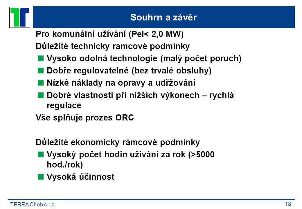 Souhrn a závěr Pro komunální užívání (Pel< 2,0 MW)