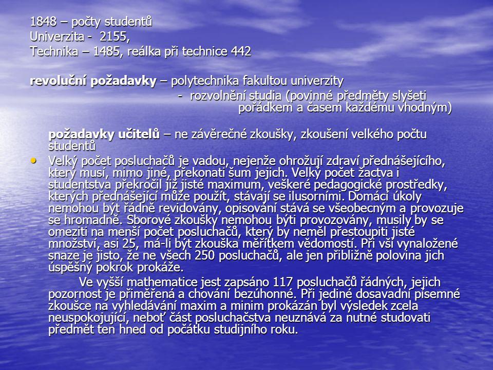 1848 – počty studentů Univerzita - 2155, Technika – 1485, reálka při technice 442. revoluční požadavky – polytechnika fakultou univerzity.