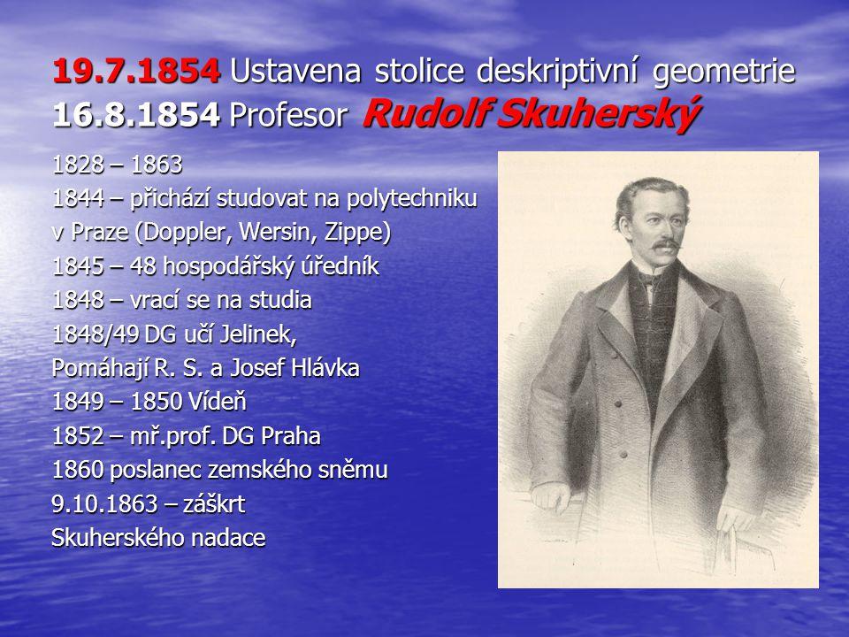 19. 7. 1854 Ustavena stolice deskriptivní geometrie 16. 8