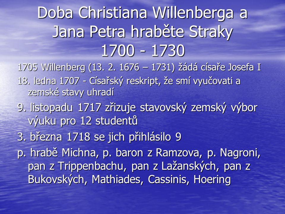 Doba Christiana Willenberga a Jana Petra hraběte Straky 1700 - 1730
