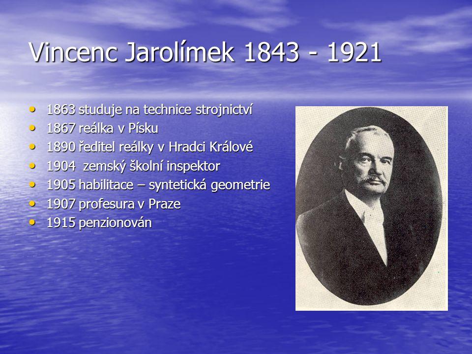 Vincenc Jarolímek 1843 - 1921 1863 studuje na technice strojnictví