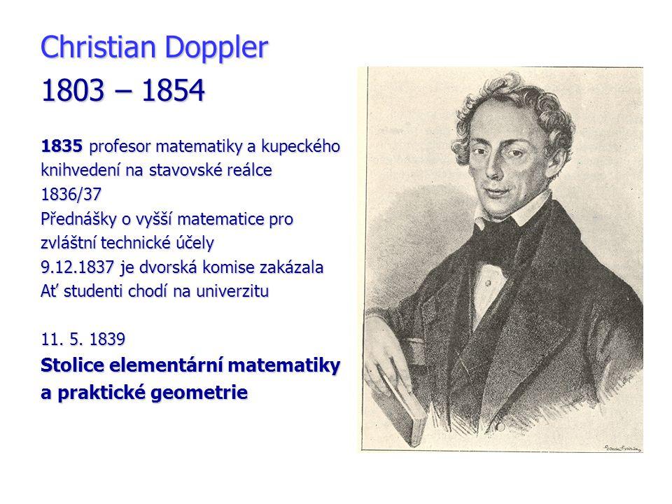 Christian Doppler 1803 – 1854 Stolice elementární matematiky