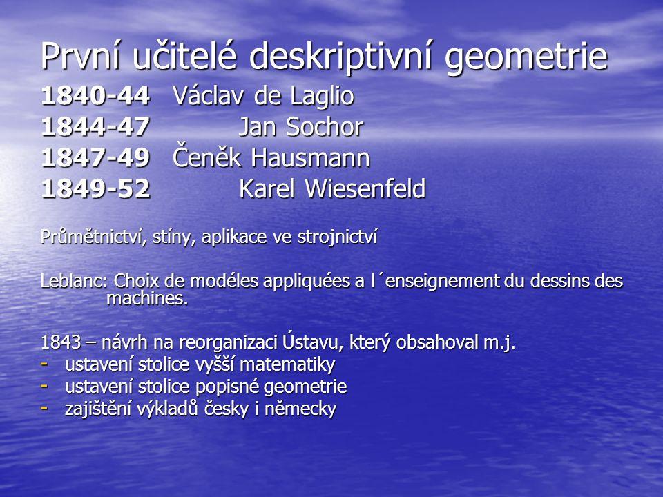 První učitelé deskriptivní geometrie