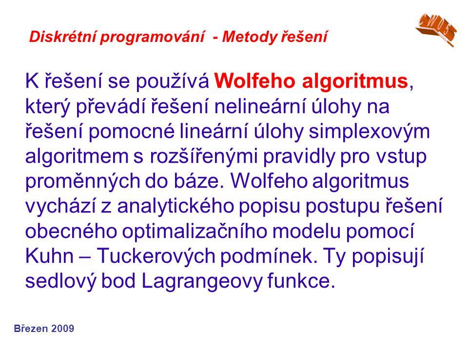 CW05 Diskrétní programování - Metody řešení.