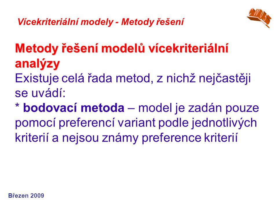 CW05 Vícekriteriální modely - Metody řešení.