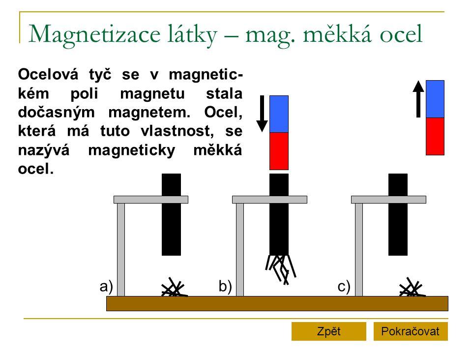 Magnetizace látky – mag. měkká ocel