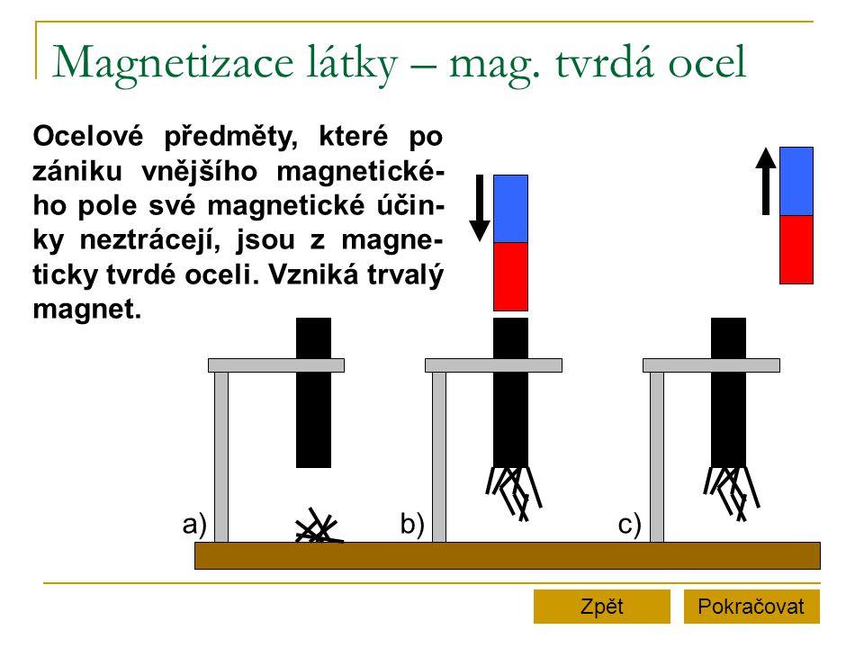 Magnetizace látky – mag. tvrdá ocel
