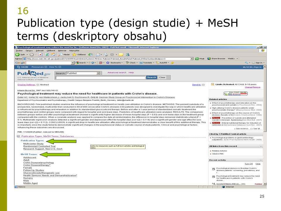 16 Publication type (design studie) + MeSH terms (deskriptory obsahu)