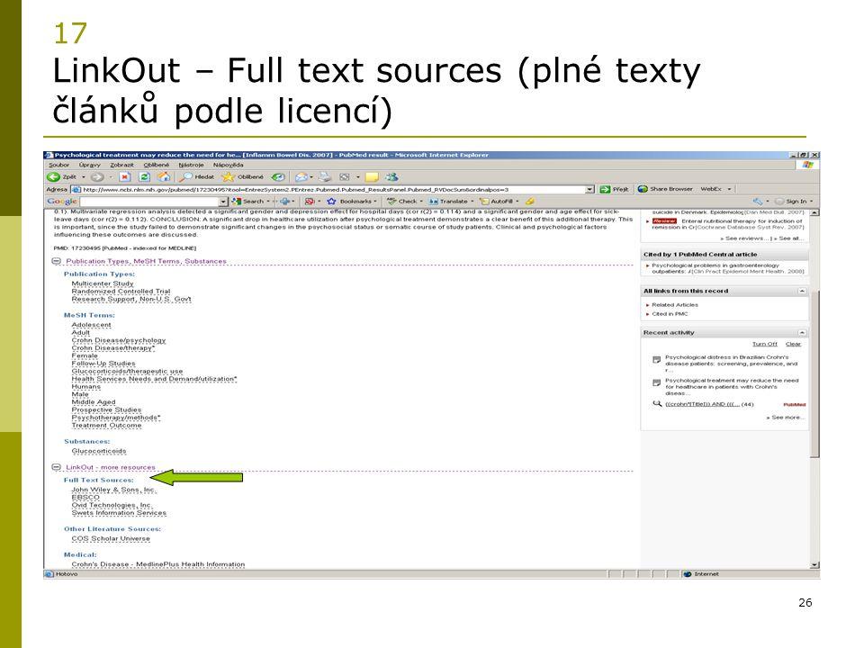 17 LinkOut – Full text sources (plné texty článků podle licencí)