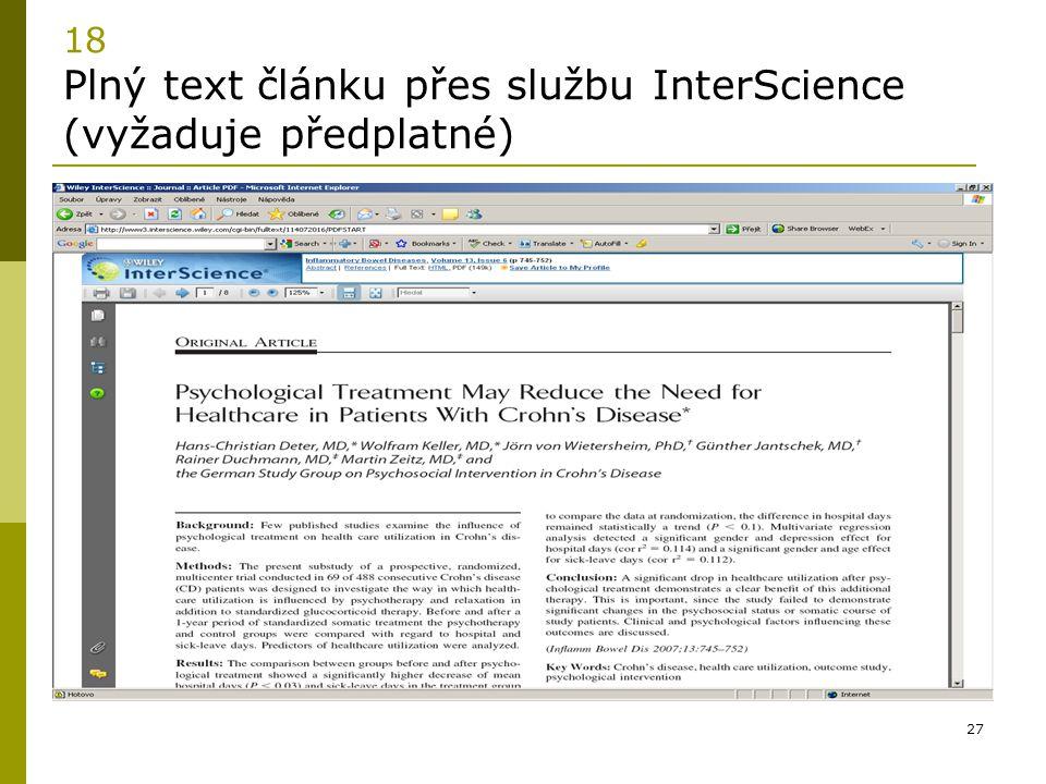18 Plný text článku přes službu InterScience (vyžaduje předplatné)