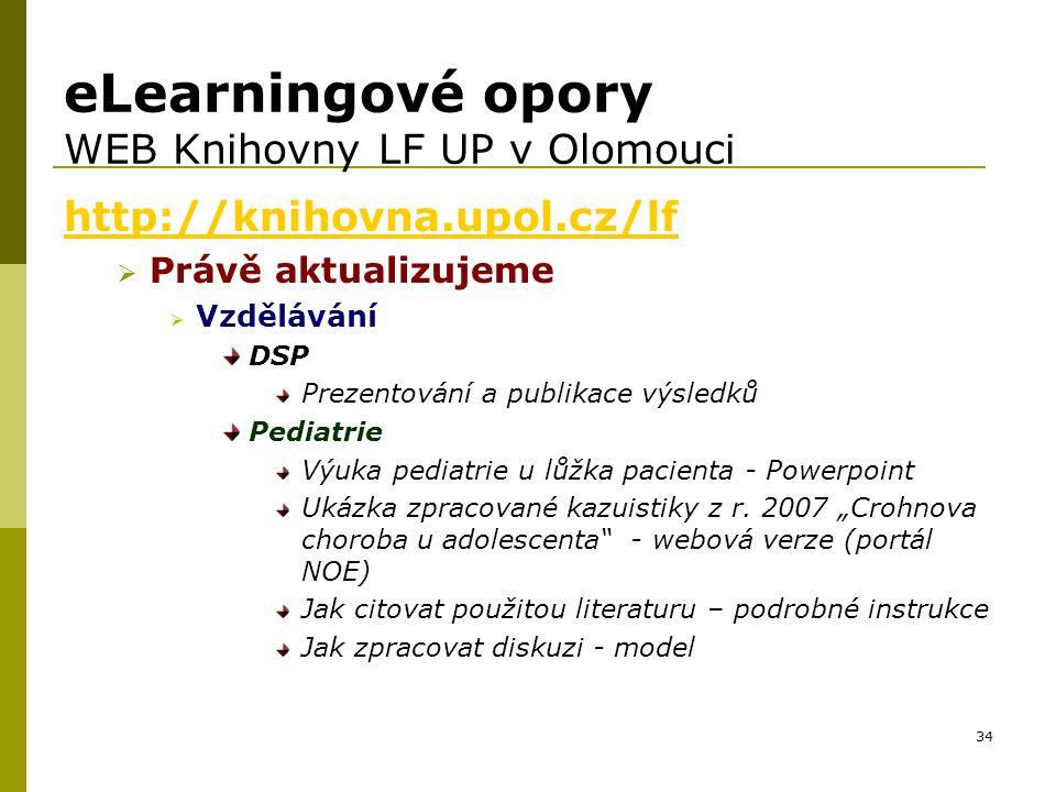 eLearningové opory WEB Knihovny LF UP v Olomouci