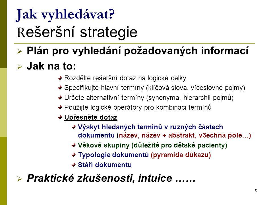 Jak vyhledávat Rešeršní strategie