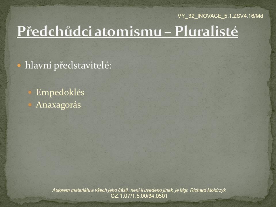 Předchůdci atomismu – Pluralisté