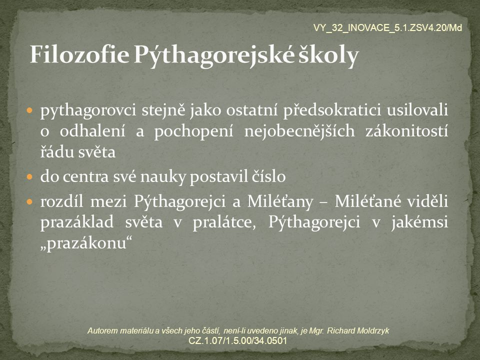 Filozofie Pýthagorejské školy