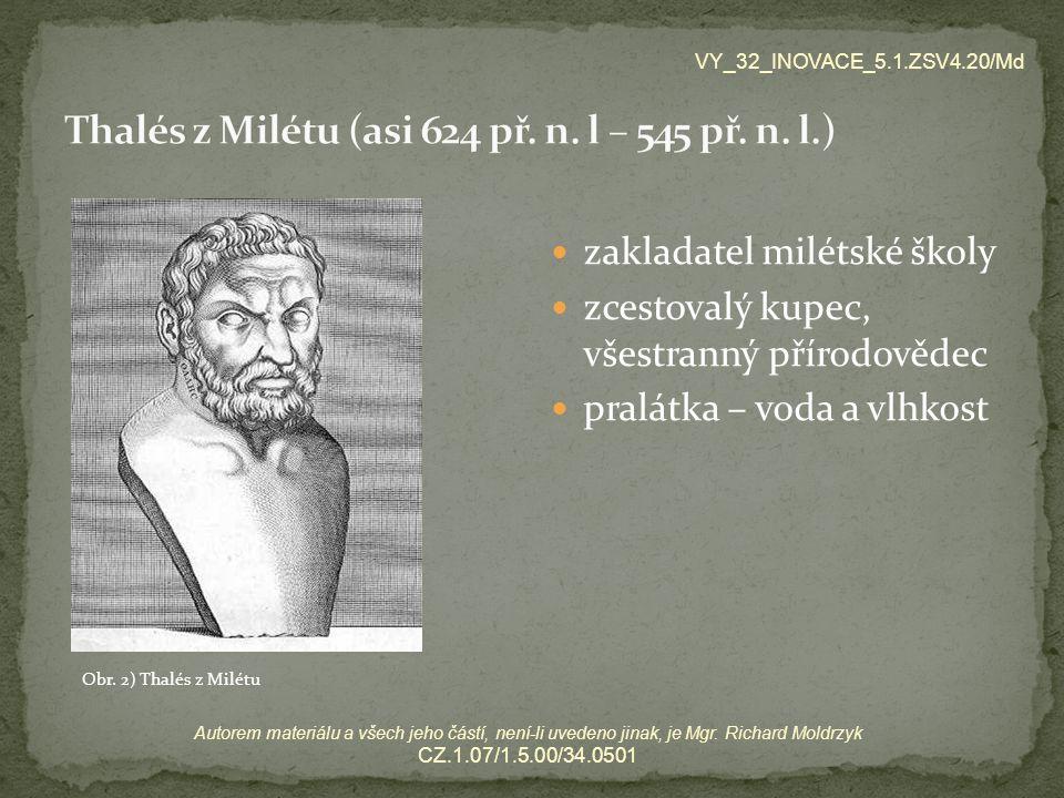 Thalés z Milétu (asi 624 př. n. l – 545 př. n. l.)