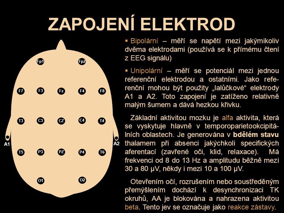 ZAPOJENÍ ELEKTROD Bipolární – měří se napětí mezi jakýmikoliv dvěma elektrodami (používá se k přímému čtení z EEG signálu)