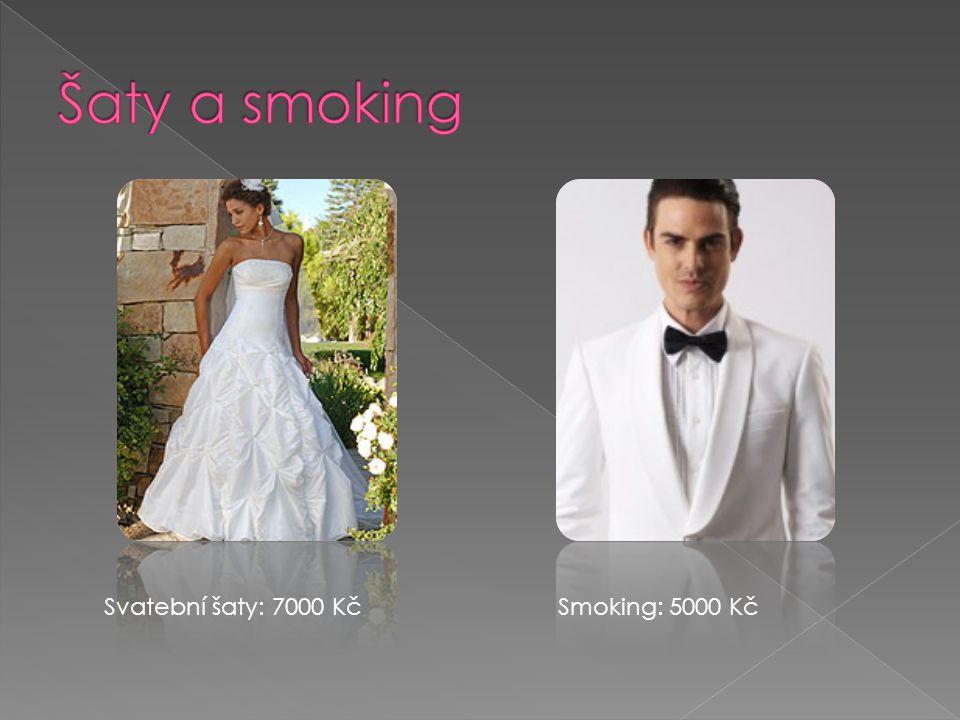 Šaty a smoking Svatební šaty: 7000 Kč Smoking: 5000 Kč
