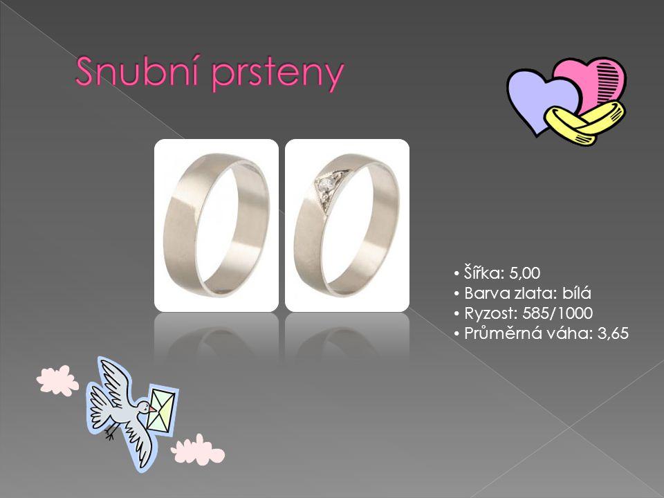 Snubní prsteny Šířka: 5,00 Barva zlata: bílá Ryzost: 585/1000