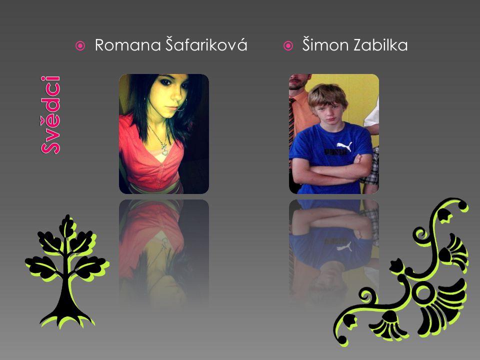 Svědci Romana Šafariková Šimon Zabilka