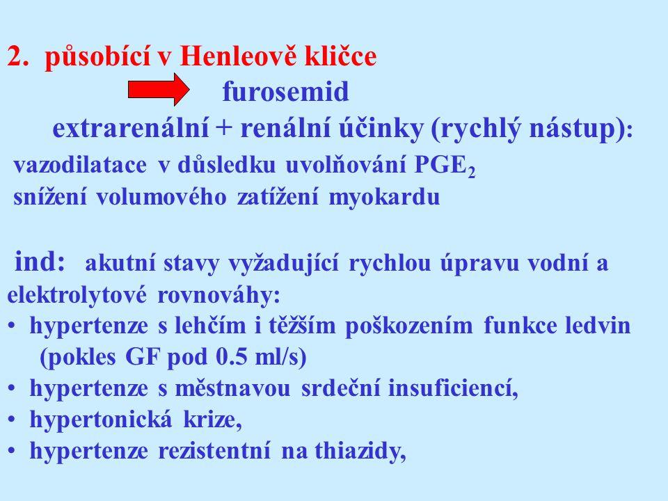 2. působící v Henleově kličce furosemid
