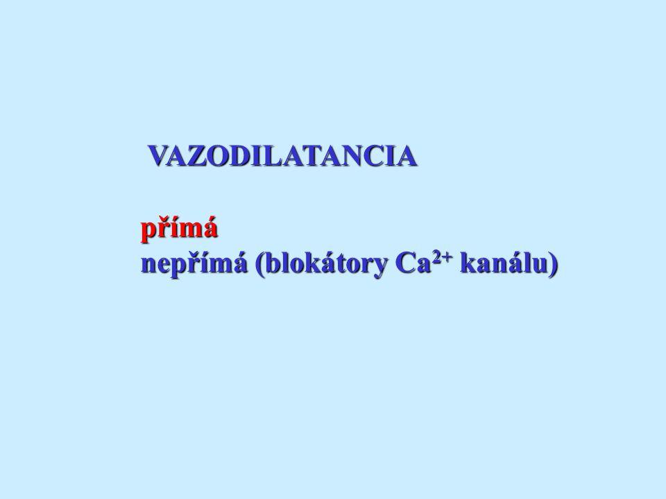 VAZODILATANCIA přímá nepřímá (blokátory Ca2+ kanálu)