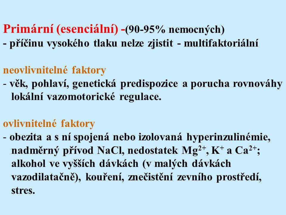 Primární (esenciální) -(90-95% nemocných)