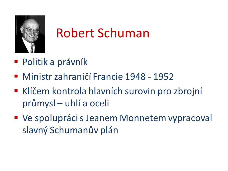 Robert Schuman Politik a právník Ministr zahraničí Francie 1948 - 1952