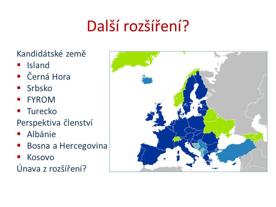 Další rozšíření Kandidátské země Island Černá Hora Srbsko FYROM