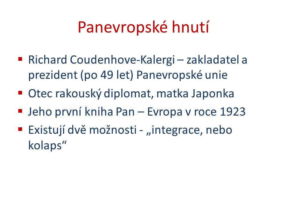 Panevropské hnutí Richard Coudenhove-Kalergi – zakladatel a prezident (po 49 let) Panevropské unie.