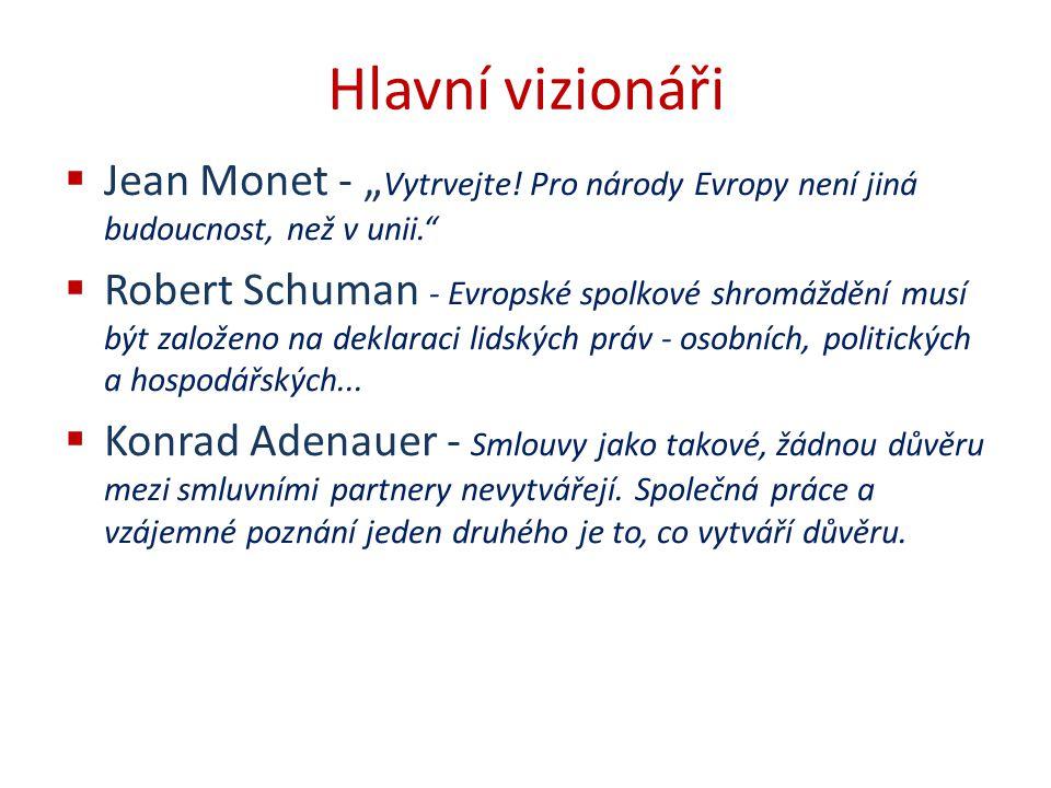 """Hlavní vizionáři Jean Monet - """"Vytrvejte! Pro národy Evropy není jiná budoucnost, než v unii."""