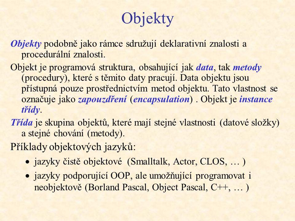Objekty Příklady objektových jazyků: