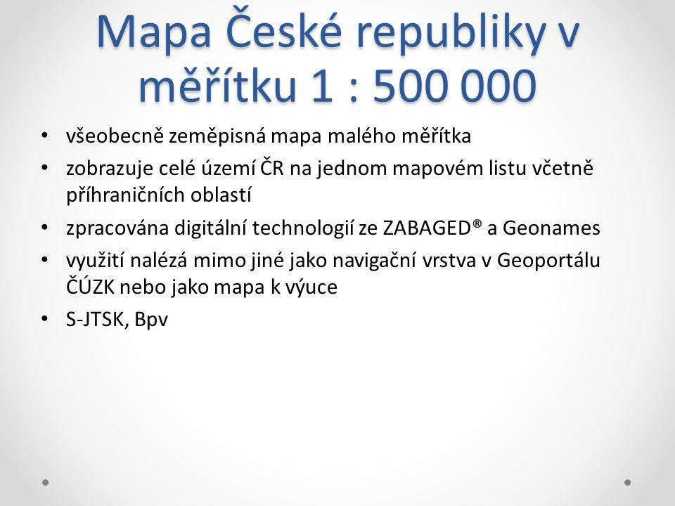 Mapa České republiky v měřítku 1 : 500 000