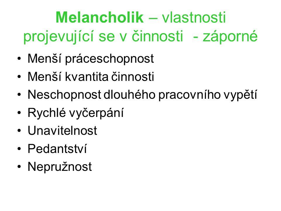 Melancholik – vlastnosti projevující se v činnosti - záporné