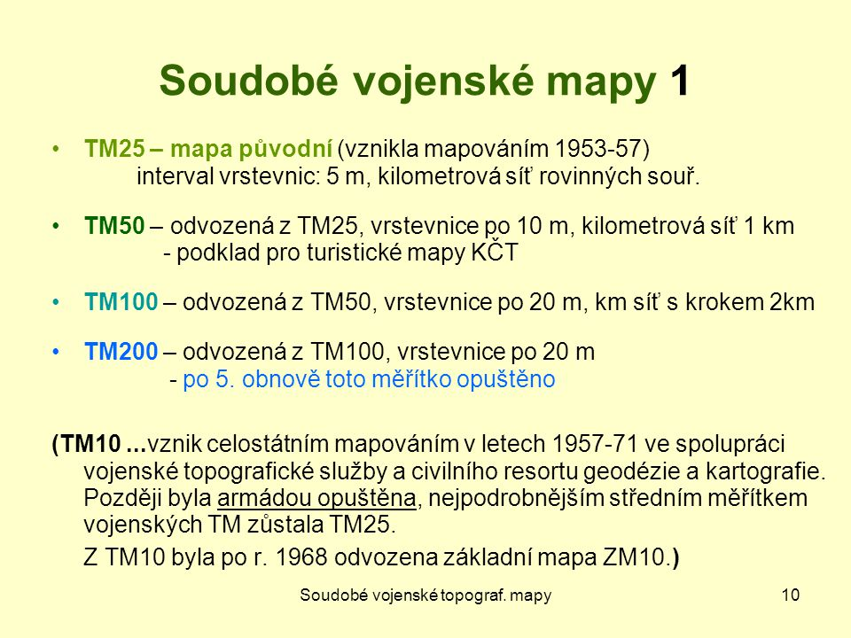 Soudobé vojenské topograf. mapy