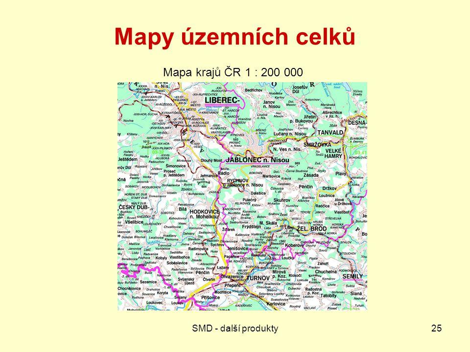 Mapy územních celků Mapa krajů ČR 1 : 200 000 SMD - další produkty