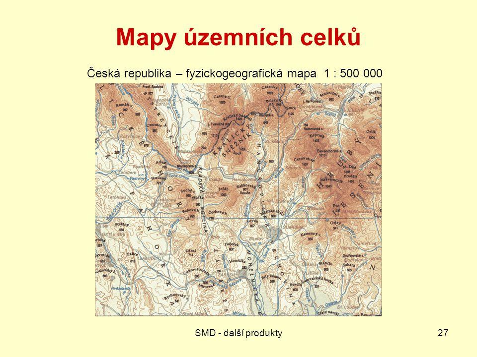 Česká republika – fyzickogeografická mapa 1 : 500 000