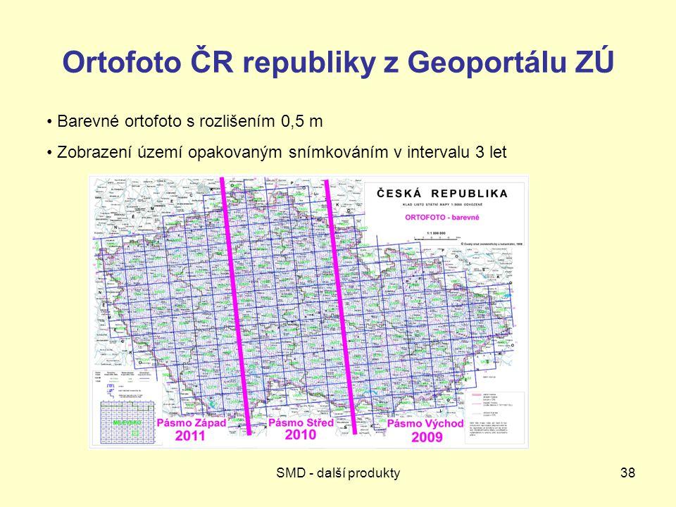 Ortofoto ČR republiky z Geoportálu ZÚ