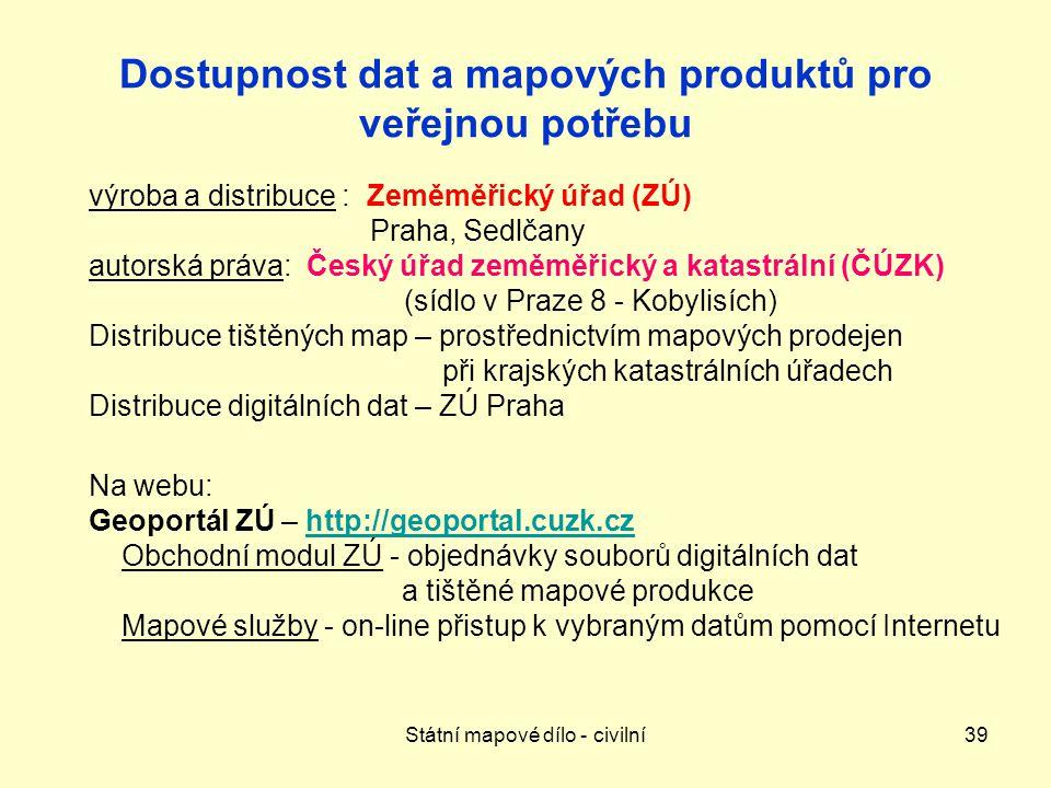 Dostupnost dat a mapových produktů pro veřejnou potřebu