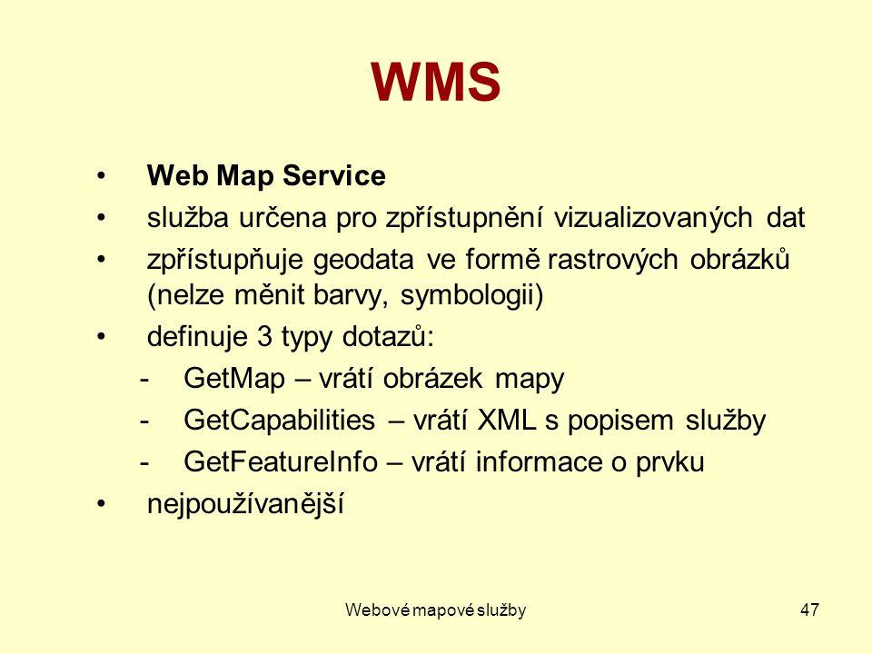 WMS Web Map Service služba určena pro zpřístupnění vizualizovaných dat