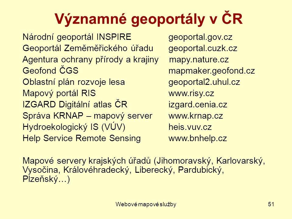 Významné geoportály v ČR
